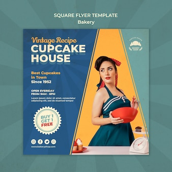 Square flyer template for vintage bakery shop with woman