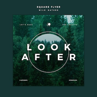 Square flyer template for wild nature