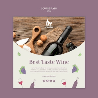 Square flyer template for wine tasting with bottle
