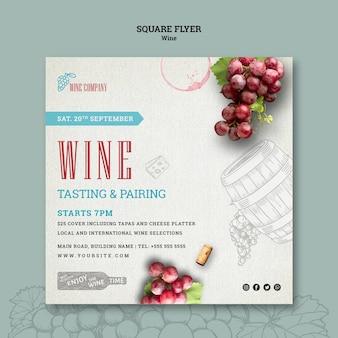 Modello di volantino quadrato per degustazione di vini