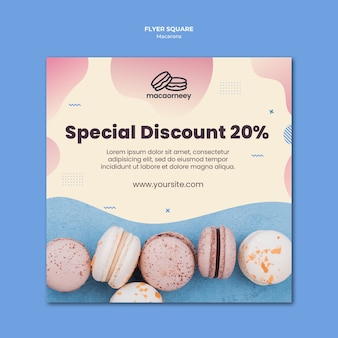 Square flyer template with macarons
