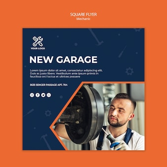 Square flyer template with mechanic at work