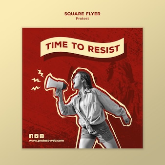 Square flyer template with protesting for human rights
