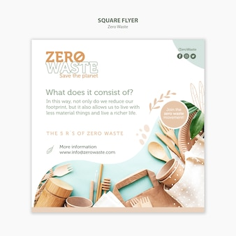 Square flyer template for zero waste lifestyle
