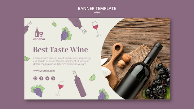 Square flyer for wine tasting with bottle and grapes