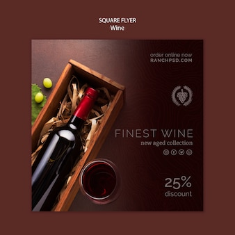 Square flyer for wine tasting with bottle