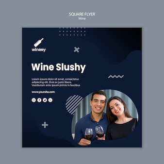 Square flyer with couple for winery