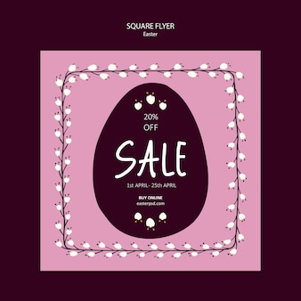 Square flyer with seasonal easter sales