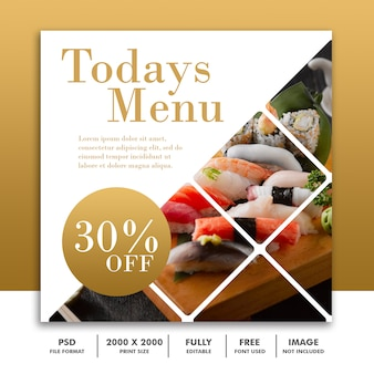Square food banner template for instagram