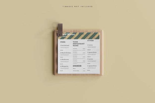 나무 보드 모형에 사각형 음식 메뉴
