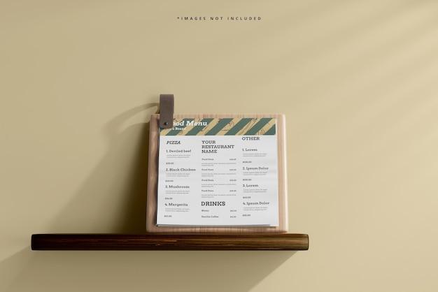 Square food menu on a wooden board mockup on a shelf