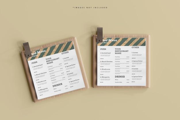나무 보드 모형에 정사각형 음식 메뉴