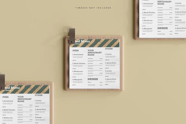 Square food menus on a wooden board mockup