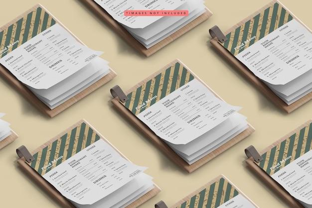 Square food menus on a wooden board pattern mockup