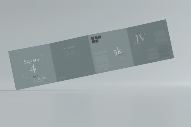 Square four fold brochure mockup