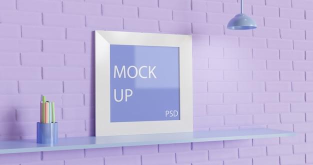 벽돌 벽에 사각 프레임 모형