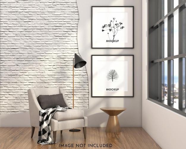 Макет квадратной рамы на кирпичной стене с диваном