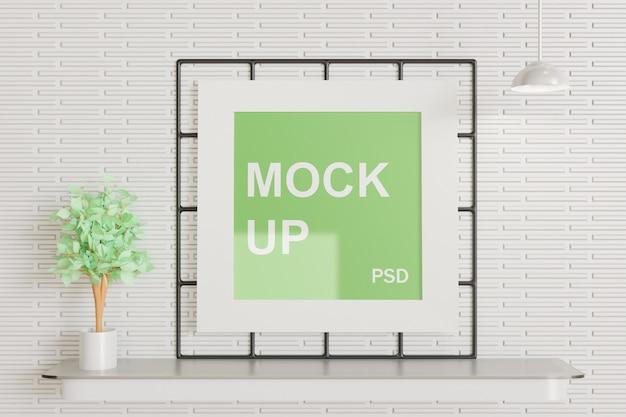 벽에 사각 프레임 모형