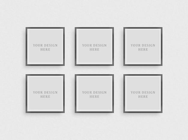 Квадратная рамка макет на белой стене