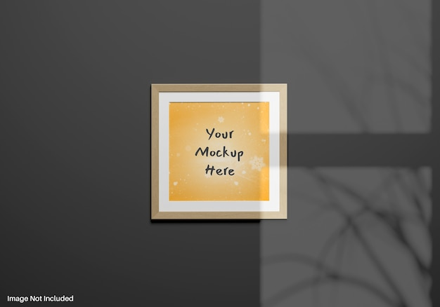 Square frame mockup on wall with shadow