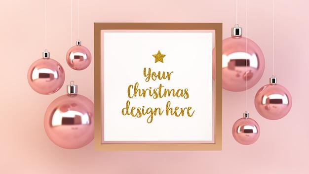 クリスマスボールと正方形のフレームのモックアップ