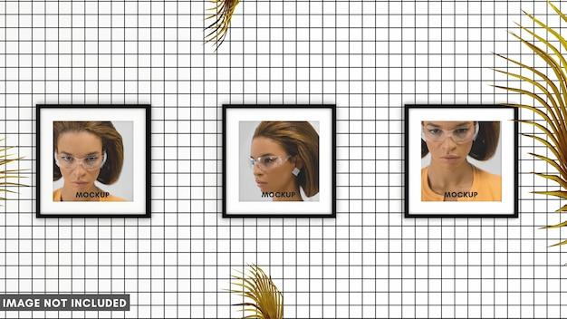 Квадратная рамка на белой плитке с пальмовыми листьями для макета