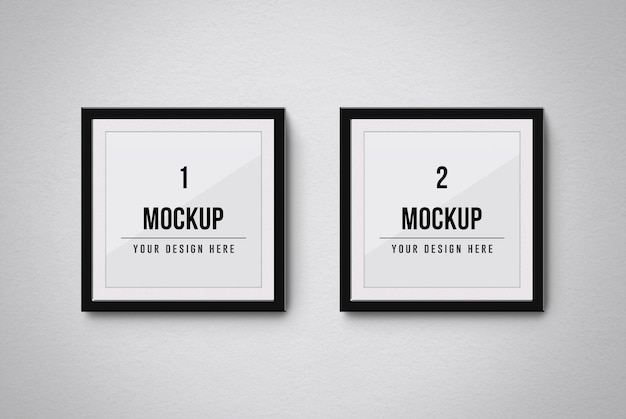 Square frames mockup isolated on the wall
