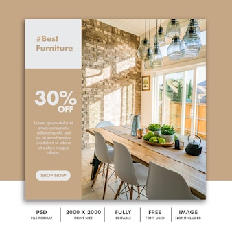 Square furniture banner template for instagram