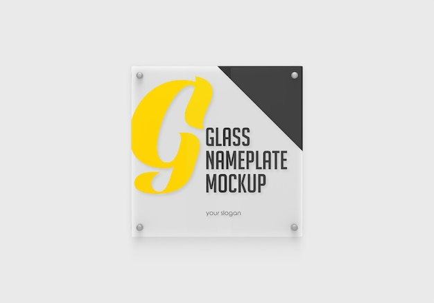 Square glass nameplate mockup isolated