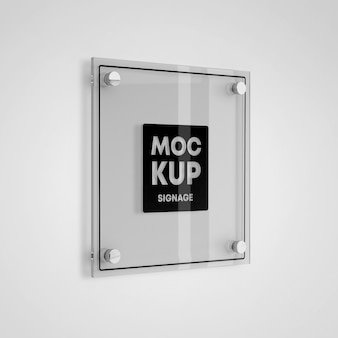 Square glass signage logo mockup