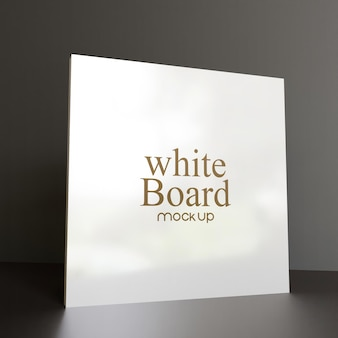 Square glossy whiteboard mockup 3d rendering