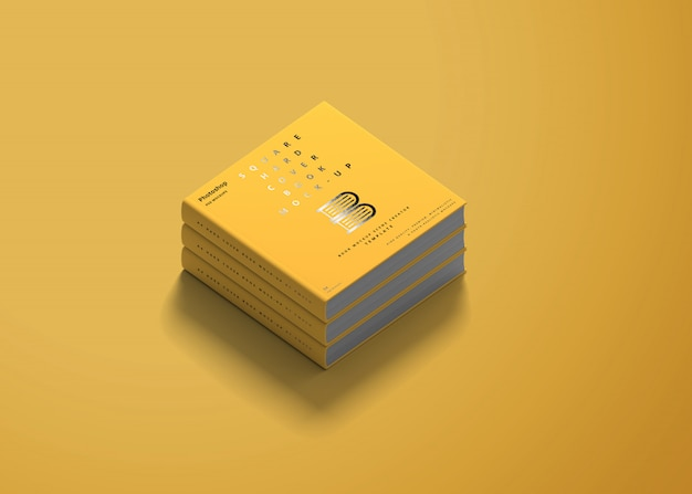 Square hard cover book mockup Premium Psd