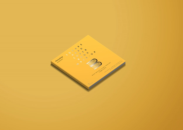 Square hard cover book mockup
