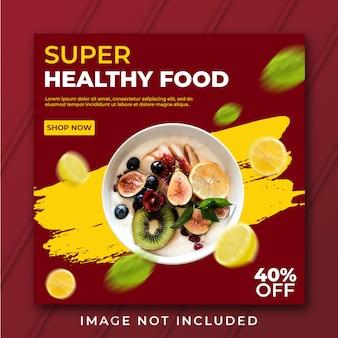 Square healthy food banner template