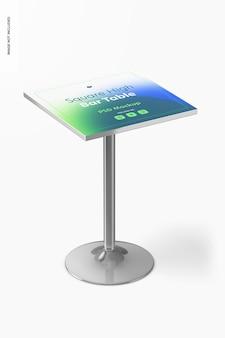 Квадратный макет стола с высокой барной стойкой, перспектива