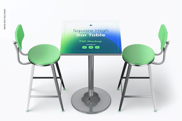 Квадратный макет стола с высокой барной стойкой, вид сверху