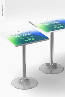 Мокап квадратных высоких барных столов
