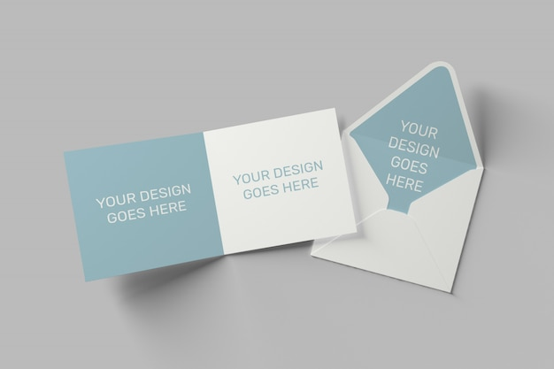Square invitation and greeting card mockup