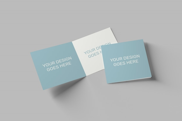 Square invitation and greeting card mockup