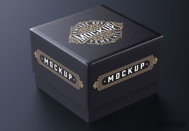 Square jewelry box mockup
