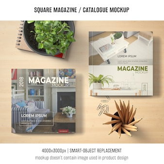 Square magazine or catalogue mockup covers