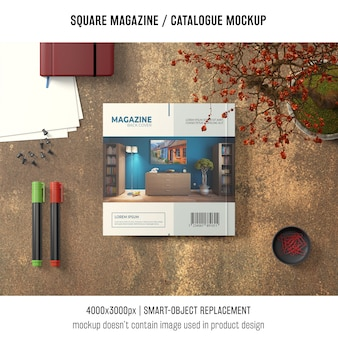 Square magazine or catalogue mockup from above
