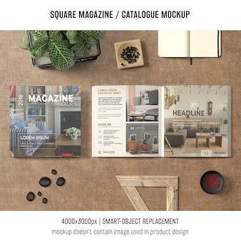 Square magazine or catalogue mockup in still life situation