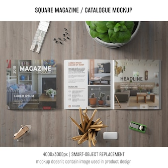 Square magazine or catalogue mockup on tabletop