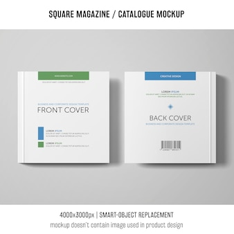 Square magazine or catalogue mockup of two