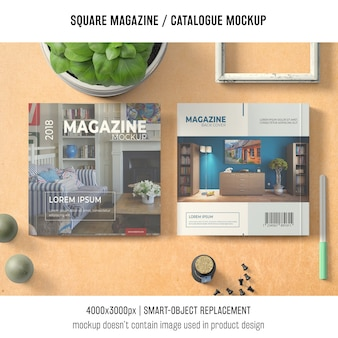 Square magazine or catalogue mockup with basil