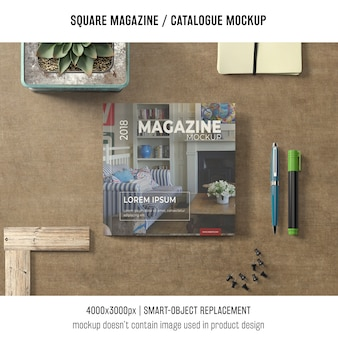 Square magazine or catalogue mockup with decoration