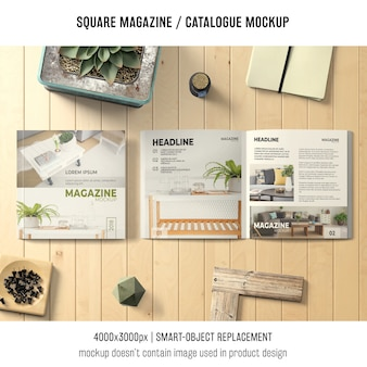 Square magazine or catalogue mockup with different objects