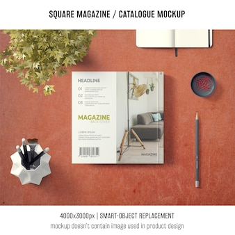 Square magazine or catalogue mockup with elements