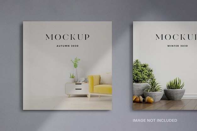 Square magazine cover mockup